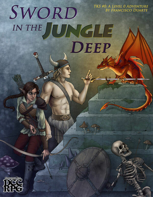 Sword in the Jungle Deep Cover Image showing a bare chested man bargaining with a small dragon, while a tribal warrior woman guards him